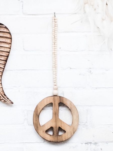 bohemian wall decoration, wooden peace sign, boho living, wooden peace sign