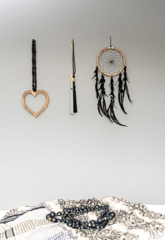 wooden heart living chain, dreamcatcher, lucky coin